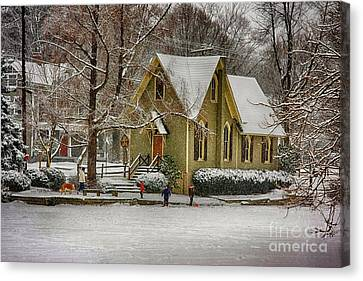 Winter At Lake Afton Canvas Print by Nicola Fiscarelli