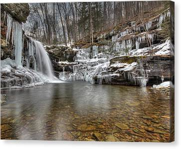 Winter At Lewis Falls Canvas Print by Lori Deiter