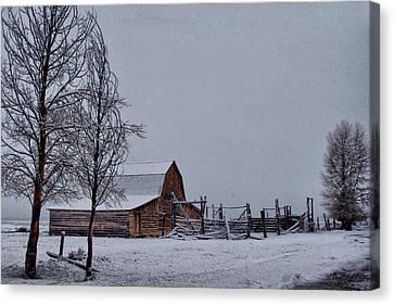 Winter At Moulton Barn  Canvas Print