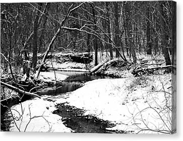 Winter At Pedelo Black And White Canvas Print by Deena Stoddard