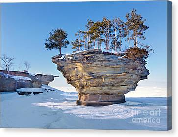 Winter At Port Austin's Turnip Rock Canvas Print by Craig Sterken