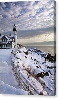 Winter At Portland Head Canvas Print by Eric Gendron