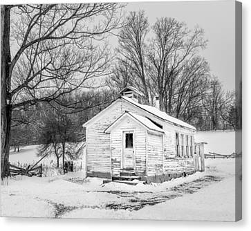 Country Schools Canvas Print - Winter At The Amish Schoolhouse - Bw by Chris Bordeleau
