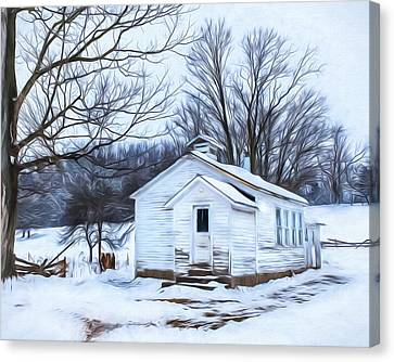 Winter At The Amish Schoolhouse Canvas Print by Chris Bordeleau