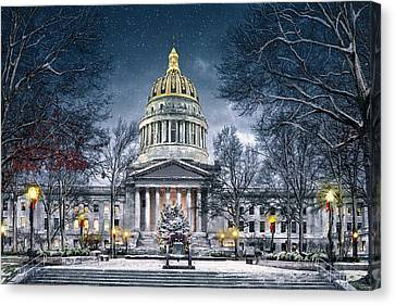 Winter At The Capitol Canvas Print by Mary Almond