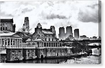 Winter At The Fairmount Waterworks In Black And White Canvas Print