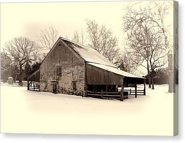Winter At The Horse Barn Canvas Print