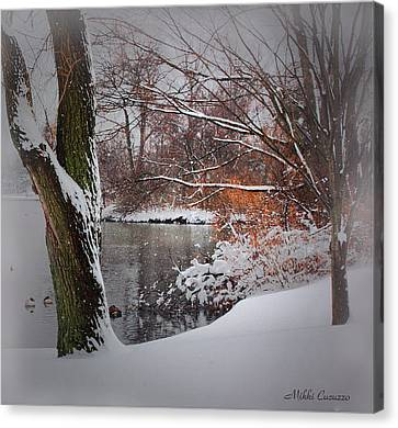Winter At The Pond Canvas Print by Mikki Cucuzzo