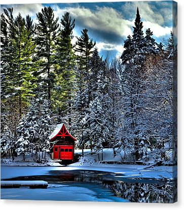 Winter At The Red Boathouse Canvas Print by David Patterson