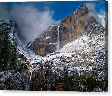 Winter At Yosemite Falls Canvas Print by Bill Gallagher