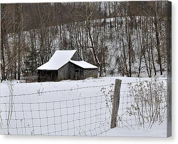 Winter Barn 2 Canvas Print by Todd Hostetter