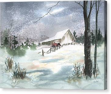 Canvas Print featuring the painting Winter Barn And Tractor by Sean Seal