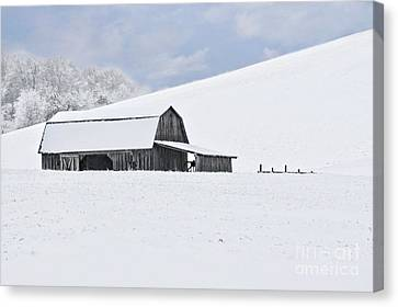 Winter Barn Canvas Print by Benanne Stiens