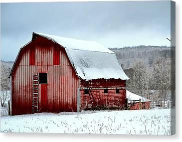 Winter Barn Canvas Print by Deena Stoddard