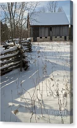 Canvas Print featuring the photograph Winter Barn II by Jessie Parker
