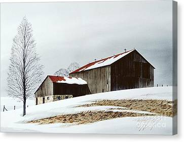 Winter Barn Canvas Print by Michael Swanson