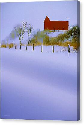 Winter Barn Canvas Print by Ron Jones
