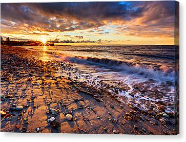 Winter Beach Sunset Canvas Print by Alexis Birkill