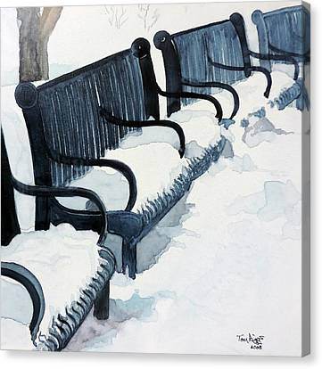 Winter Benches Canvas Print