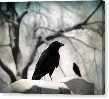 Birds In Graveyard Canvas Print - Winter Blackbirds by Gothicrow Images