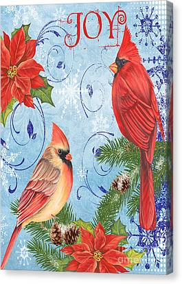 Winter Blue Cardinals-joy Card Canvas Print by Jean Plout