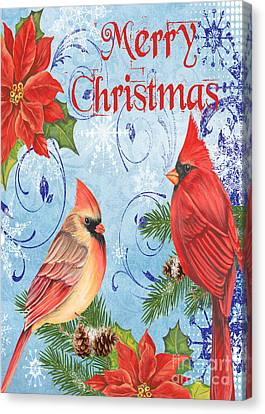 Winter Blue Cardinals-merry Christmas Card Canvas Print by Jean Plout