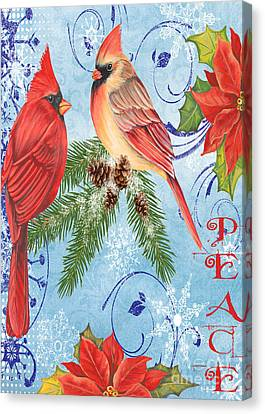 Winter Blue Cardinals-peace Card Canvas Print by Jean Plout