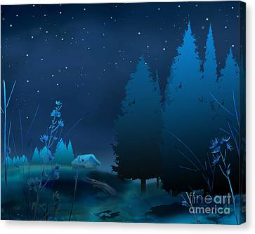 Winter Blue Night Canvas Print by Bedros Awak