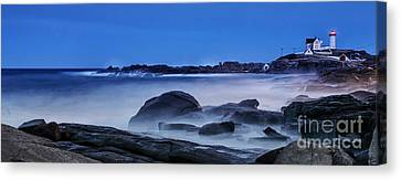 Winter Bomb Hits Nubble Canvas Print by Scott Thorp