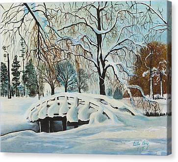 Winter Bridge Canvas Print by Cathy Long