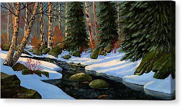 Winter Brook Canvas Print by Frank Wilson