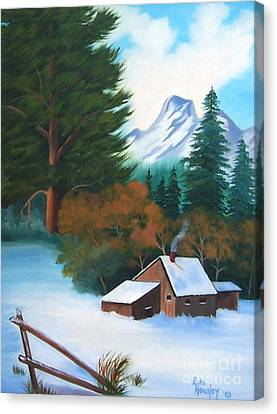 Winter Cabin Canvas Print by Ruth  Housley