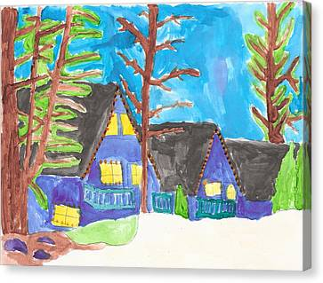 Canvas Print featuring the painting Winter Cabins by Artists With Autism Inc