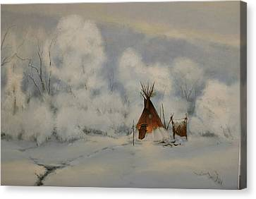 Winter Camp Canvas Print by Richard Hinger