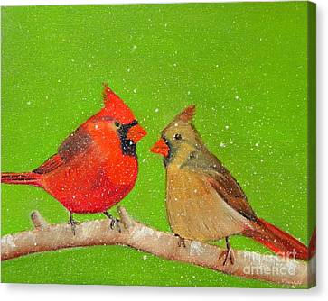 Winter Cardinals Canvas Print by Shelia Kempf