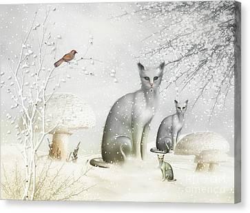 Winter Cats Canvas Print