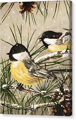 Winter Chickadees Canvas Print by Chastity Hoff