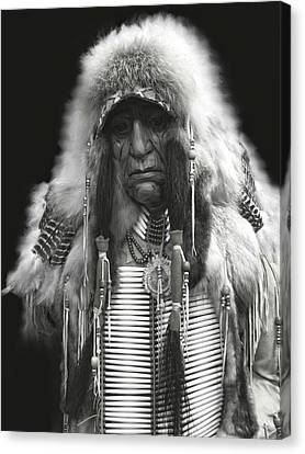 Winter Chief B W Canvas Print
