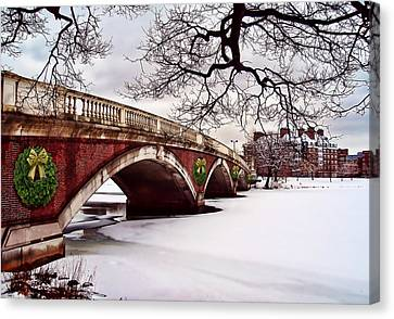 Winter Christmas On The Charles River Boston Canvas Print by Elaine Plesser