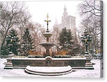 Winter - City Hall Fountain - New York City Canvas Print by Vivienne Gucwa
