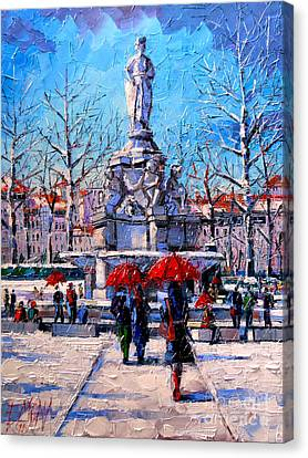 Winter City Scene - The Square  Marshal Lyautey In Lyon - France Canvas Print by Mona Edulesco