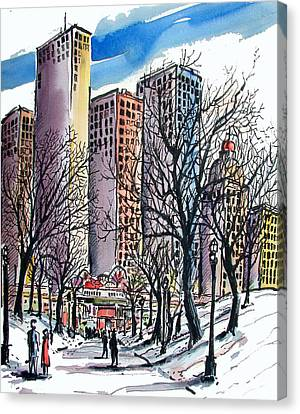 Canvas Print featuring the painting Winter City by Terry Banderas