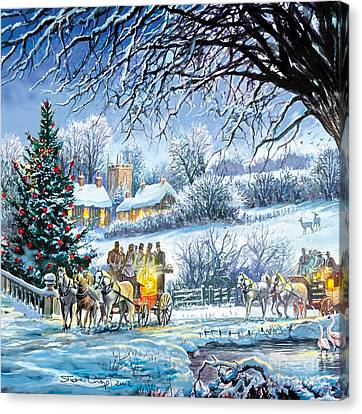 Winter Coaches Canvas Print by Steve Crisp