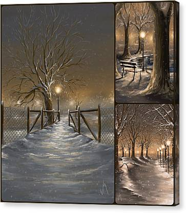 Winter Collage Canvas Print by Veronica Minozzi