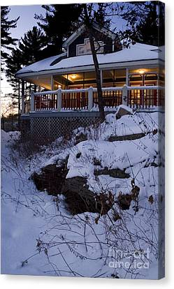 Canvas Print featuring the photograph Winter Cottage by Jessie Parker