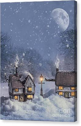 Snowy Night Night Canvas Print - Winter Cottages by Amanda Elwell