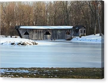 Winter Covered Bridge Canvas Print by Jennifer  King