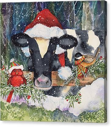 Winter Cow Canvas Print by Kathleen Parr Mckenna
