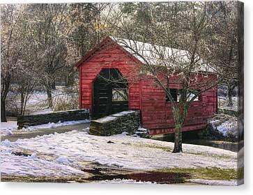 Winter Crossing In Elegance - Carroll Creek Covered Bridge - Baker Park Frederick Maryland Canvas Print by Michael Mazaika