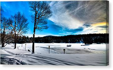 Winter Day On Old Forge Pond Canvas Print by David Patterson